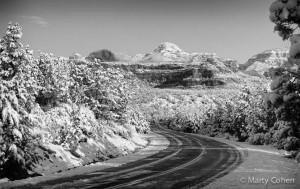 Highway Through Snowy Sedona - B+W