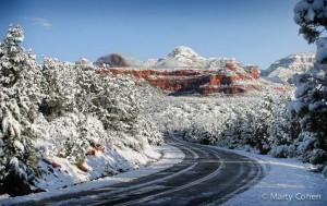 Highway Through Snowy Sedona - Color