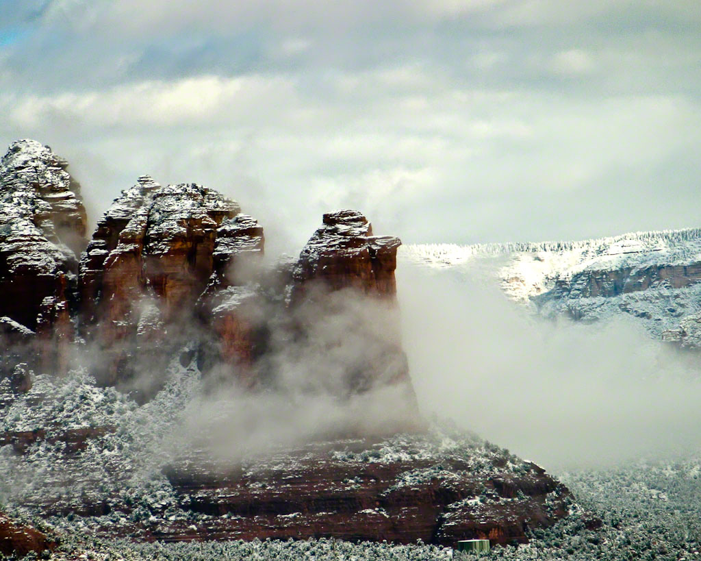 Coffee Pot Rock in the Snow