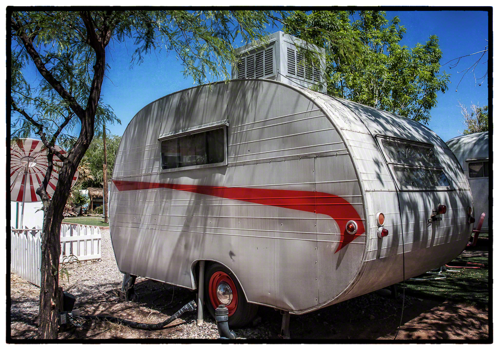 Airstream with the Red Stripe