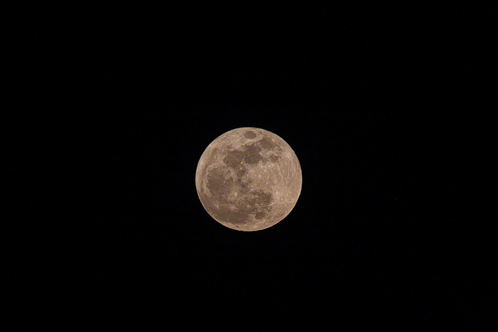 The Super Moon at 35 minutes after moonrise in Carmel Valley.