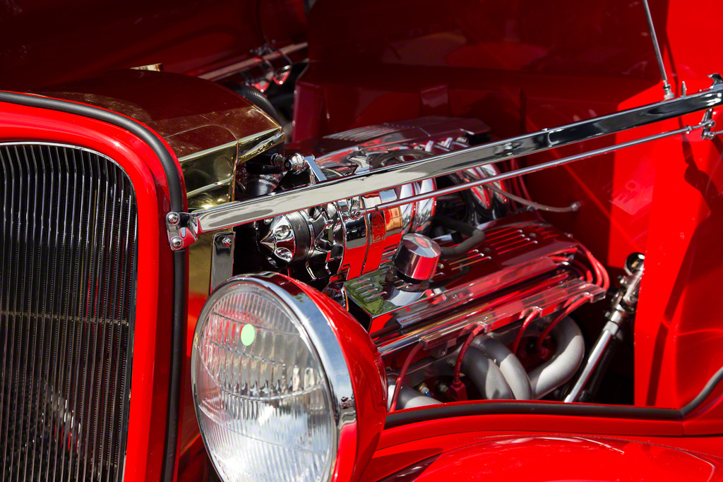 1933 Red Ford Coupe Engine