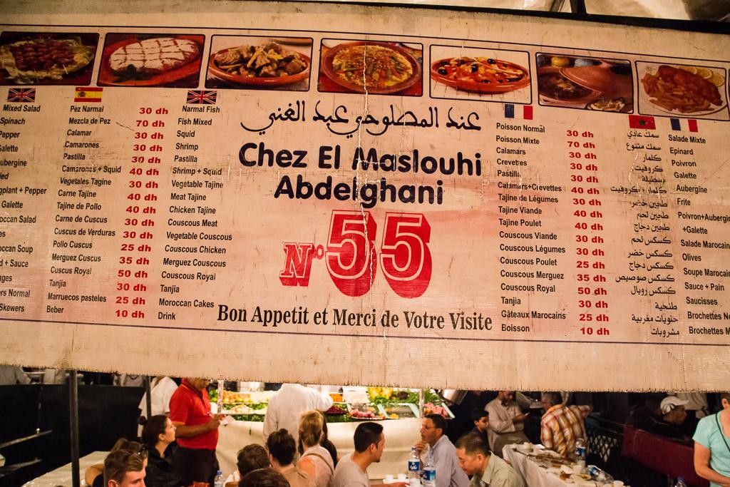 Outdoor Menu in Marrakesh