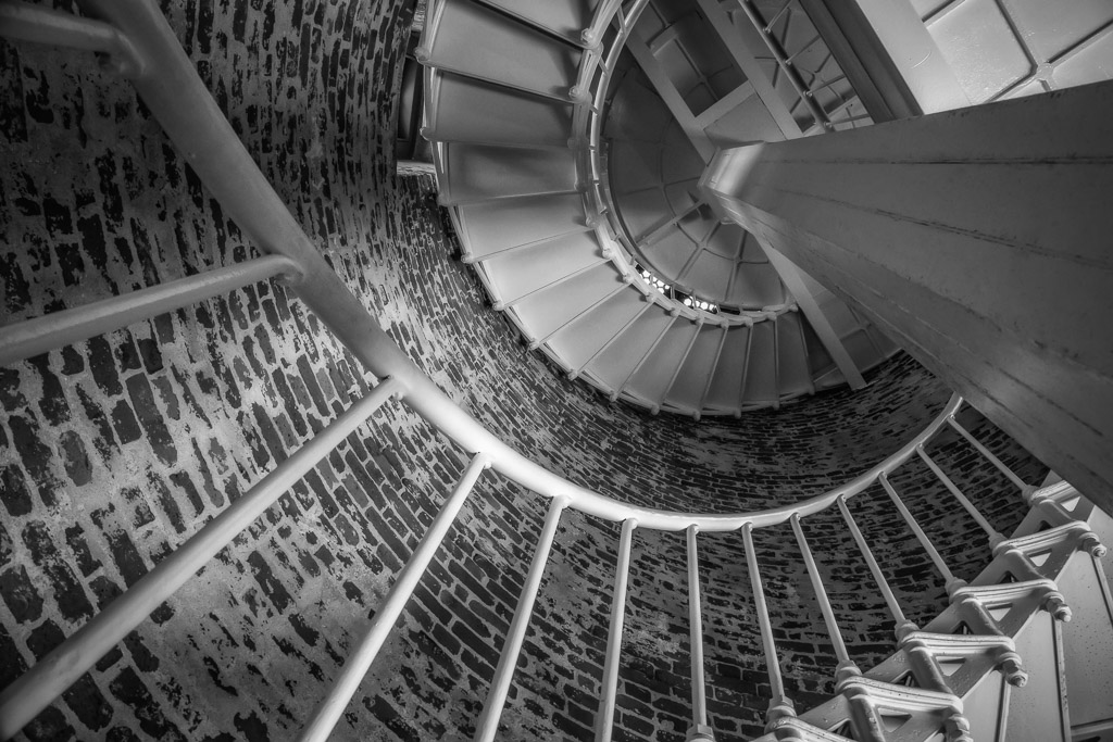 The stairway up the center of the lighthouse