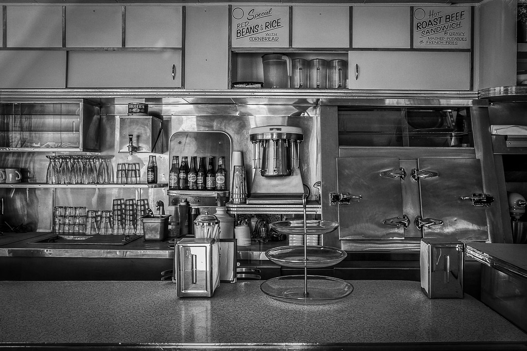 The interior of Dot's Diner, a 1950's diner in Bisbee, AZ