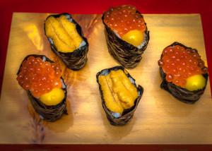 Ikura-Salmon Egg Sushi with Raw Quail Egg Yolk