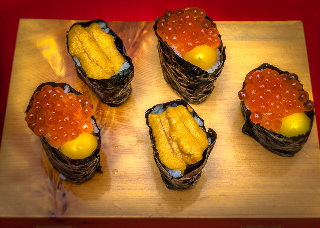 Ikura-Salmon Egg Sushi with Raw Quail Egg Yolk