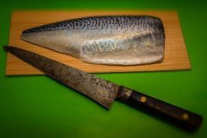 Preparing the Makerel for Sushi